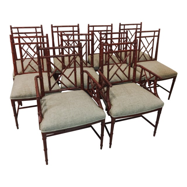 Century Faux Bamboo Chairs - Set of 10 For Sale