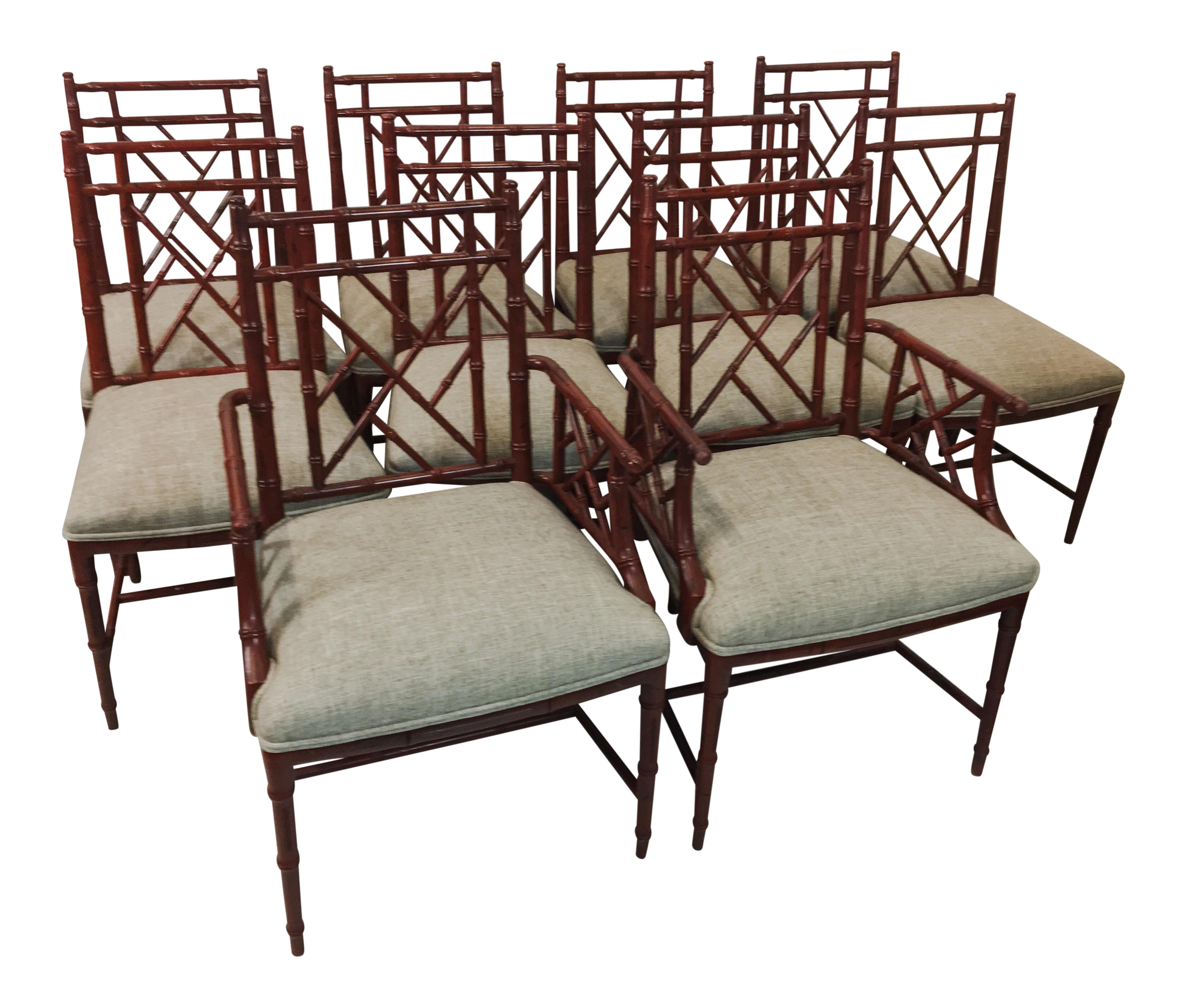 Century Faux Bamboo Chairs   Set Of 10