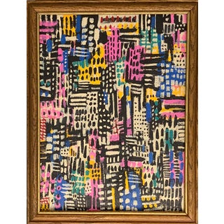 Contemporary Patchwork Style Acrylic Painting, Framed For Sale
