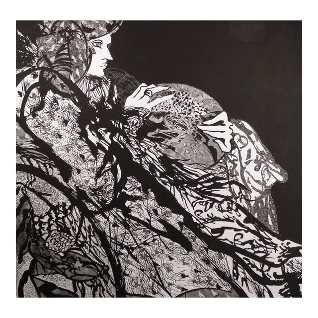 "Susan B. Hale Kemenyffy ""Portrait of Janel : Mirror Away"" Signed Vintage Linocut Unframed For Sale"