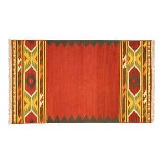 Red Vegetable Dyed Kilim Navajo Rug - 3' x 5'