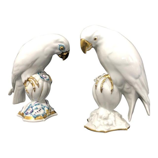 Vintage Bavarian Porcelain Parrot Birds - a Pair