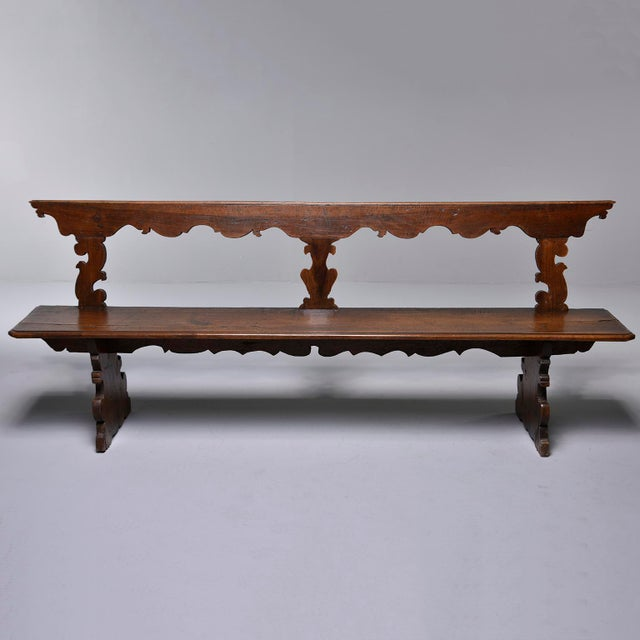 19th Century Italian Primitive Hand Carved Bench For Sale - Image 4 of 13