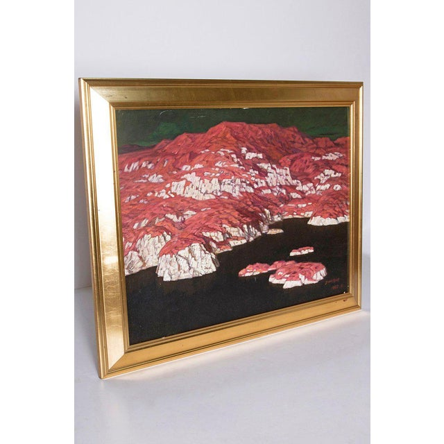 Asian Chinese Abstract Oil on Canvas of Mountains and Seascape, Indistinctly Signed For Sale - Image 3 of 13