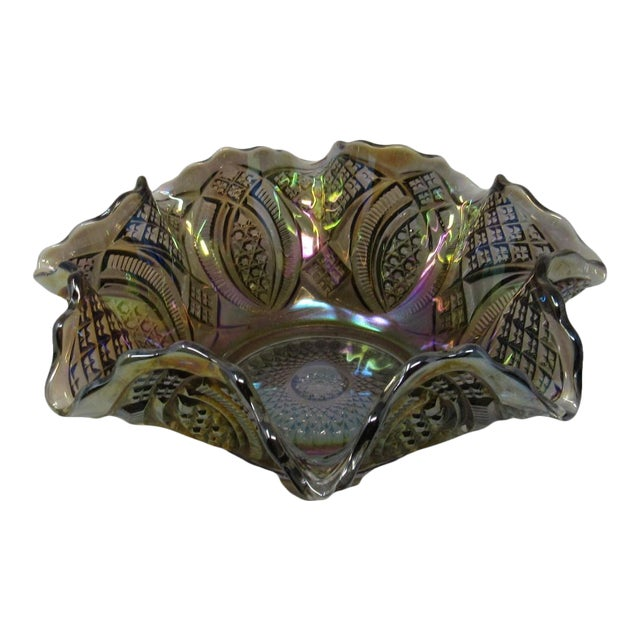 Antique Imperial Smoke Diamond Ring Carnival Glass Bowl For Sale