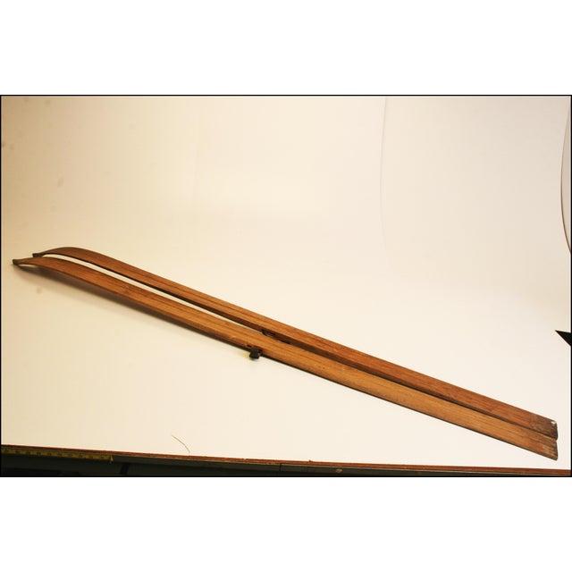 Vintage Rustic Wood Snow Skis - Pair - Image 9 of 11