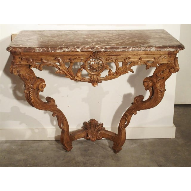 Early 18th Century Oak Regence Console With Rouge Marble Top For Sale - Image 13 of 13