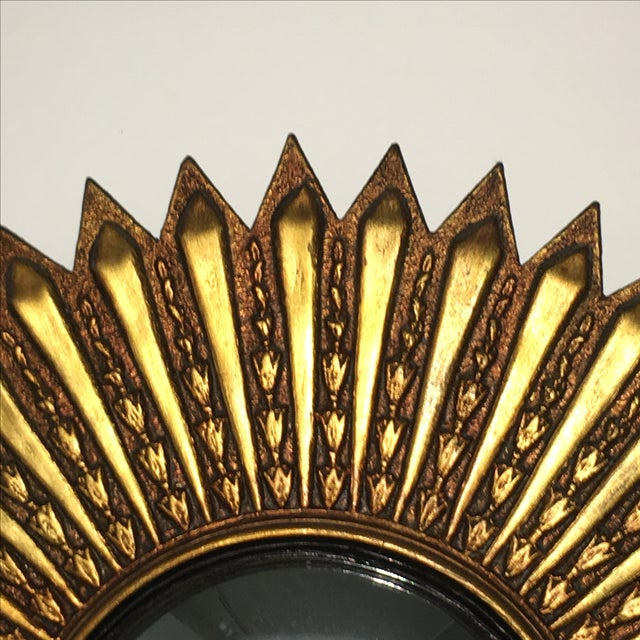 Mid Century Modern Argentinian Gilded Wood Starburst Convex Wall Mirror - Image 5 of 7