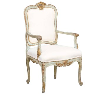 18th Century Italian Venetian Painted Upholstered Gilded Armchair