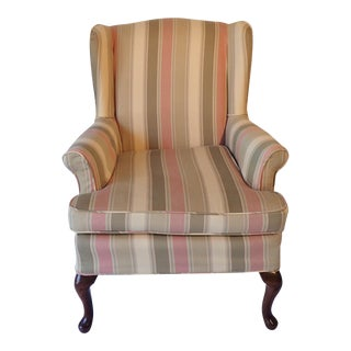 French Country Petite Wingback Mahogany Chair For Sale