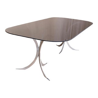 Mid Century Modern Dining Table With Saint Gobain Smoked Grey Glass Top For Sale