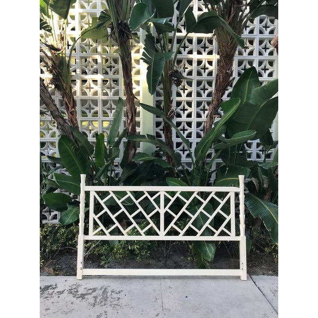 1970s Chinese Chippendale True White King Size Headboard For Sale - Image 4 of 4