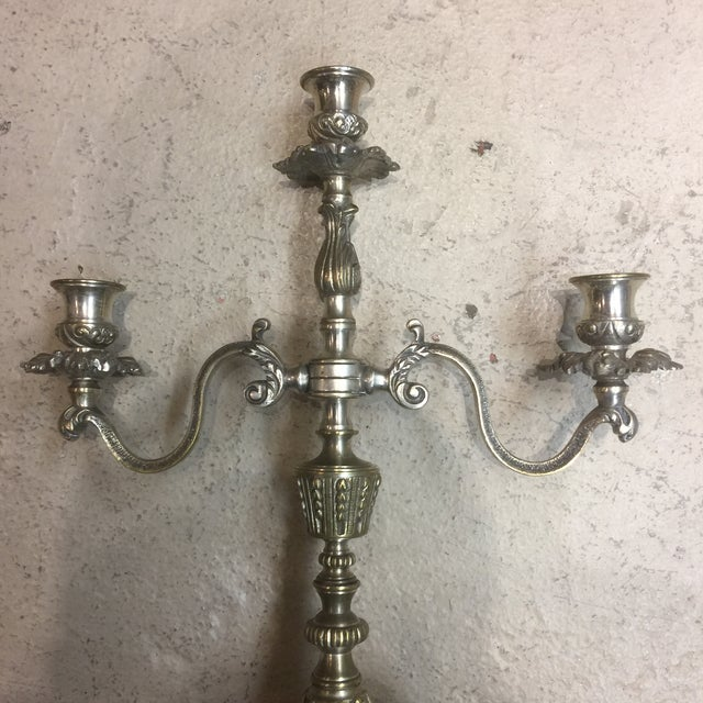 Brass Vintage Silver Plated French Brass 3 Branch Candelabra - a Pair For Sale - Image 7 of 13