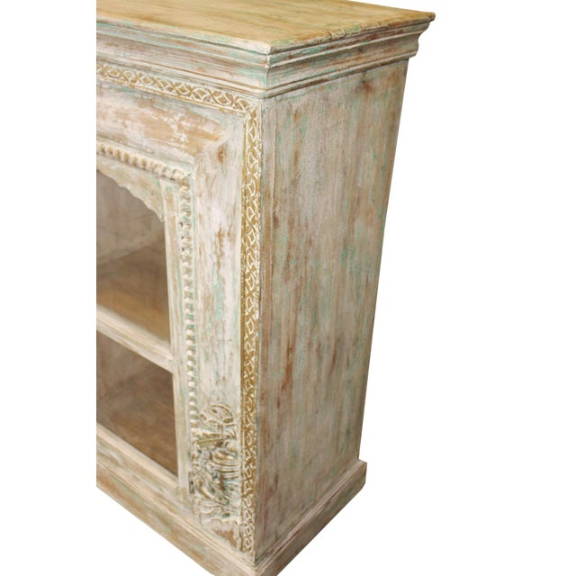 Vintage Credenza Vintage Style Chest Buffet Ivory Green Carved Brass Inlay Sideboard For Sale - Image 4 of 7