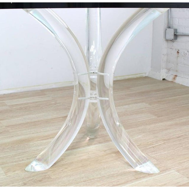 Large Glass Top Conference Table on Lucite Tusks Bases For Sale In New York - Image 6 of 7