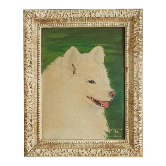 """1960s """"Our Heidie"""" Dog Portrait Oil Painting, Framed For Sale"""