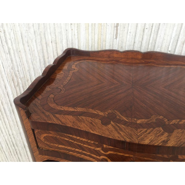 Pair of French Marquetry Walnut Bedside Tables With Drawers and Open Shelf For Sale - Image 12 of 13