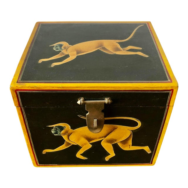 Hand Painted Green Yellow Wood Monkey Chest For Sale
