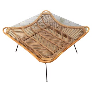 1960s Rattan, Iron & Glass Coffee Table For Sale