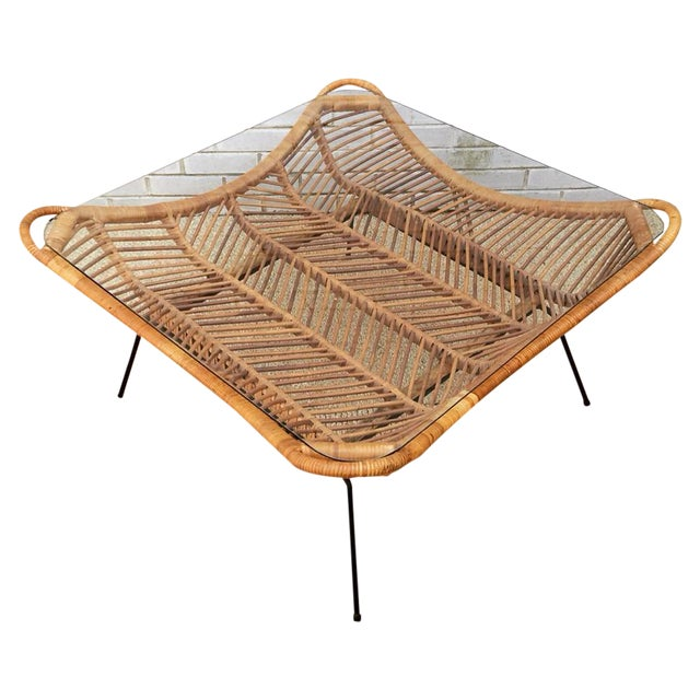 1960s Rattan, Iron & Glass Coffee Table - Image 1 of 10