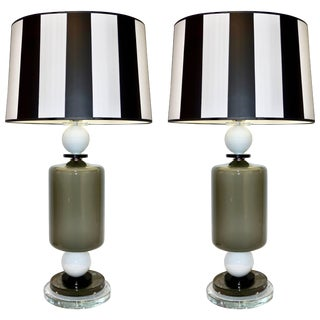 1980s Italian Geometric White Black and Silver Gray Murano Glass Lamps - a Pair For Sale