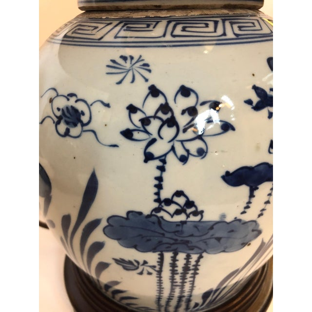 Classic Blue and White Canton Style Ginger Jar Lamps With Carp-A Pair For Sale - Image 10 of 11