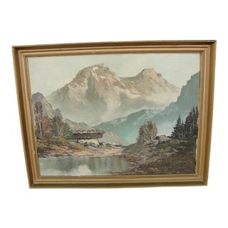 1940s Vintage Karl Gatermann Oil on Canvas Mountain Landscape Painting For Sale