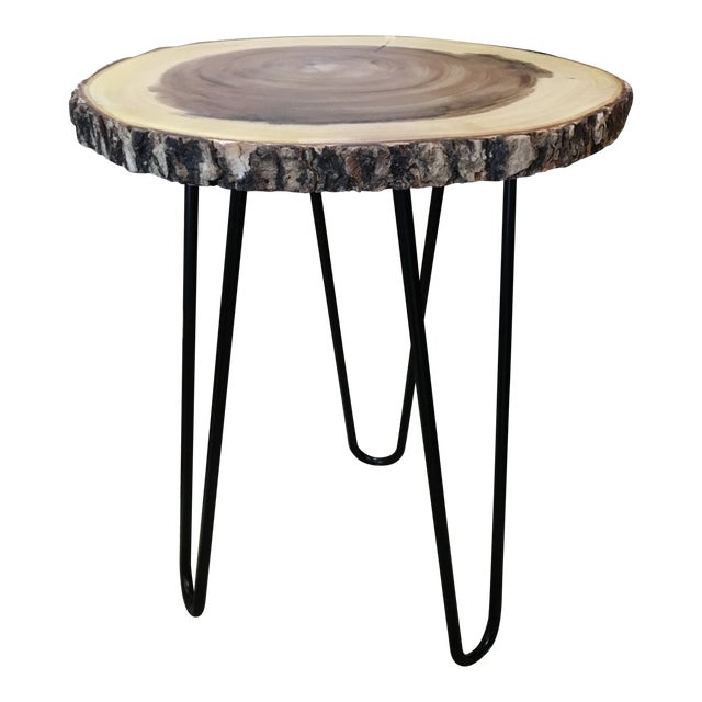 Boho Chic Teak Wood Natural and Metal Accent Side Table For Sale