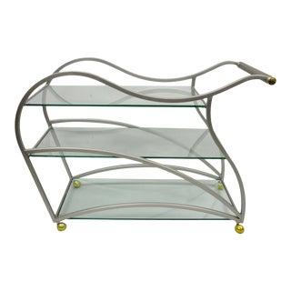 Design Institute of America Milo Baughman Brushed Metal Sculptural Bar Cart For Sale