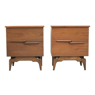 Mid Century Modern Sculptural Nightstands-a Pair For Sale