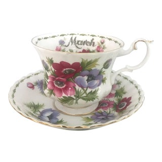 Royal Albert Flower of Month March Anemones Tea Cup Saucer Set For Sale
