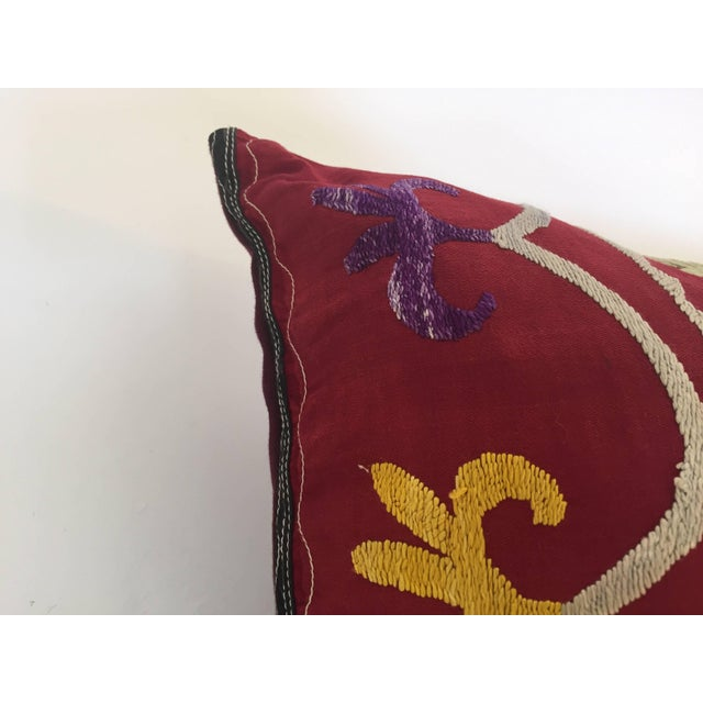 Large Vintage Colorful Suzani Embroidery Throw Pillow From Uzbekistan For Sale - Image 12 of 13