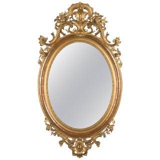 19th Century Napoleon III Gilded Oval Mirror For Sale