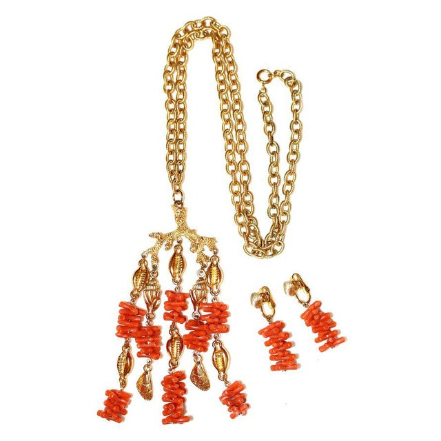 Trifari C1960s Trifari Faux-Coral Necklace & Earrings Set For Sale - Image 4 of 5