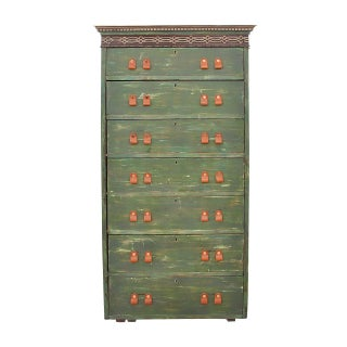 Antique Shabby Chic Distressed Green Tower Chest Preview