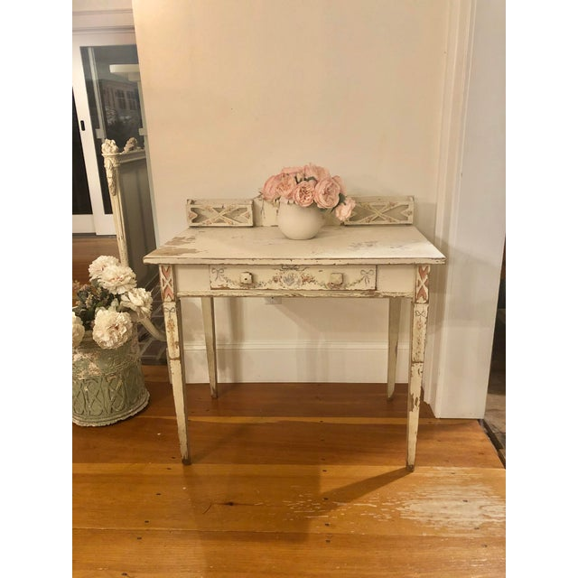 Stunning original hand painted antique ribbons and roses entry table - desk All original with hand painted ribbons and...