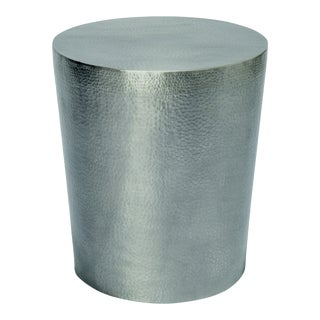 Ore Round Outdoor Accent Table / Stool, Silver For Sale