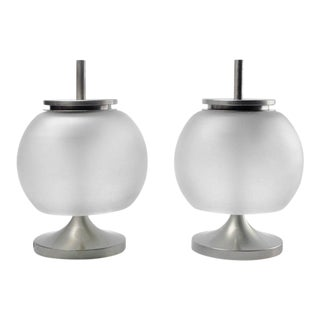 Chi Table Lamps by Emma Gismondi for Artemide, Nickel and Glass, 1960s