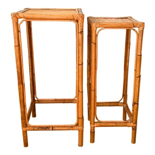 20 Century Nesting Bamboo Tables/Plant Stands - a Pair For Sale