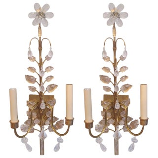 Pair of Rock Crystal Gilt Sconces in the Baguès Manner For Sale