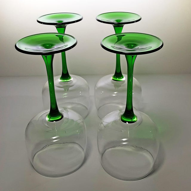 Late 20th Century Vintage French Green Stem Wine Glasses - Set of 4 For Sale - Image 5 of 7