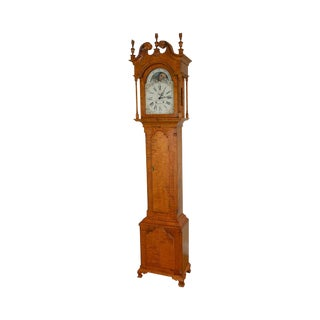 Louis A. Irion Tiger Maple Chippendale Style Grandfather Clock For Sale