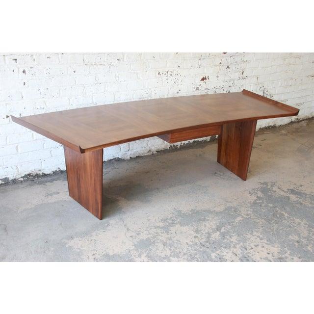 Danish Modern Excellent Curved Top Walnut Harvey Probber Executive Desk For Sale - Image 3 of 14