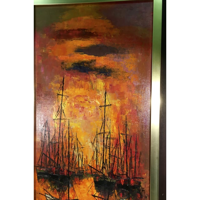 Vintage 1960s Abstract Sailboats Painting - Image 5 of 9