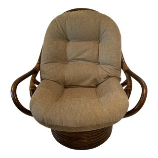 Vintage Rattan Pretzel Rocking Swivel Lounge Chair For Sale