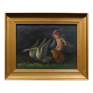 Cherub in Chariot Pulled by Geese- 19th Century Paintings