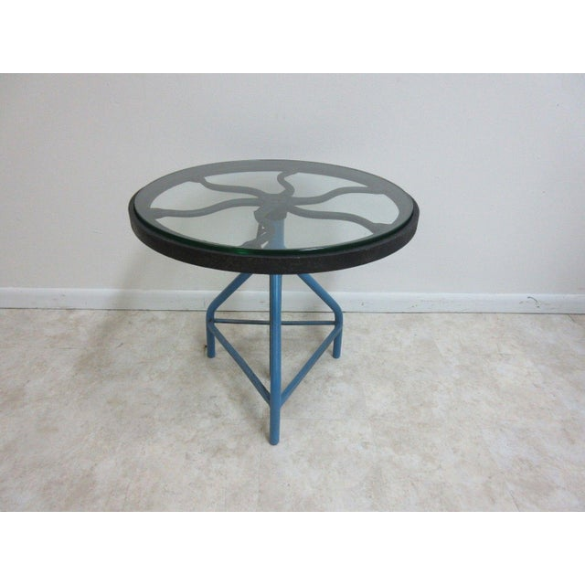 Antique Industrial Gear Metal Tripod Lamp End Table Stand For Sale - Image 11 of 11