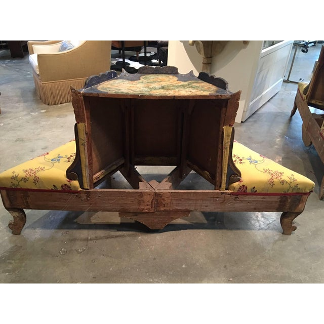Exceedingly Rare Pair of Upholstered and Handpainted Sicilian Late 18th Century For Sale In Los Angeles - Image 6 of 8