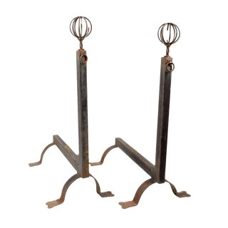 Antique French Andirons - A Pair