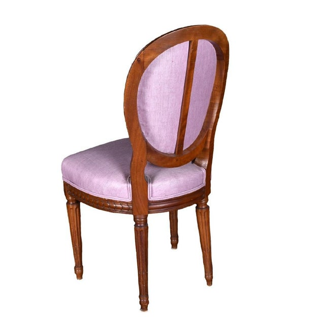 French Four Louis XVI Pink Neoclassical Carved Wood Dining Chair Set of 4 - 19th Century France For Sale - Image 3 of 5